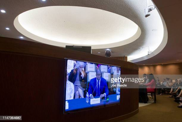 Andrew Gillum Forward Florida Chair is seen on a television screen as he speaks at the Elections Subcommittee field hearing on 'Voting Rights and...