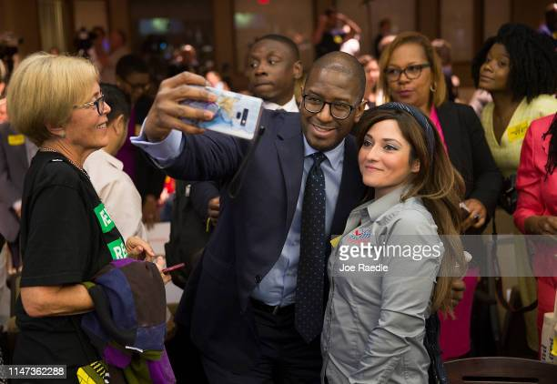 Andrew Gillum Forward Florida Chair takes a picture with Nancy Batista Florida State Director Mi Familia Vota after speaking during The Elections...