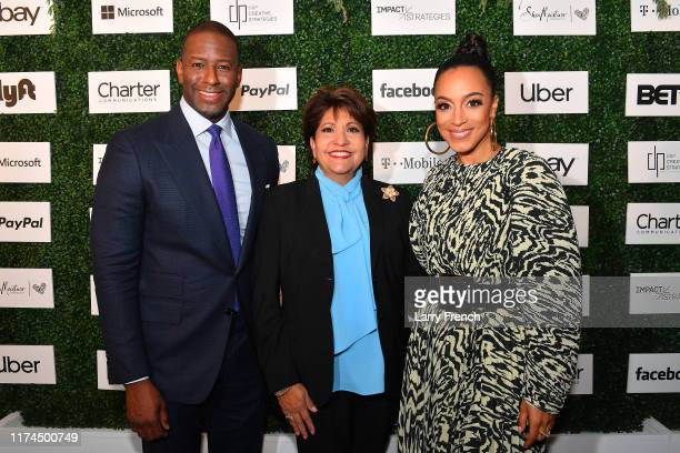 Andrew Gillum Janet Murguia and Angela Rye appear at IMPACT Strategies and DP Creative Strategies 2nd Annual Tech Media Brunch celebrating...