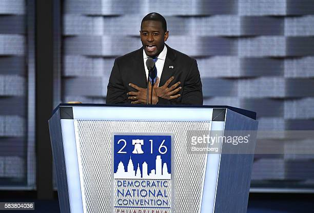Andrew Gillum mayor of Tallahassee speaks during the Democratic National Convention in Philadelphia Pennsylvania US on Wednesday July 27 2016 With...