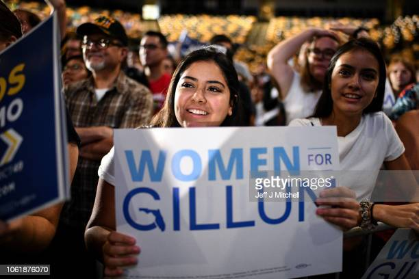 Andrew Gillum supporters attend a Get Out the Vote Rally at the University of Central Florida CFE Arena on October 31 2018 in Orlando Florida Bernie...