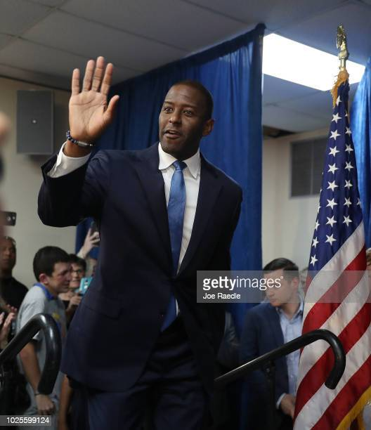 Andrew Gillum the Democratic candidate for Florida Governor arrives for a campaign rally at the International Union of Painters and Allied Trades on...