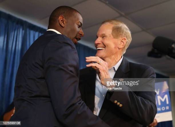 Andrew Gillum the Democratic candidate for Florida Governor embraces Sen Bill Nelson during a campaign rally at the International Union of Painters...