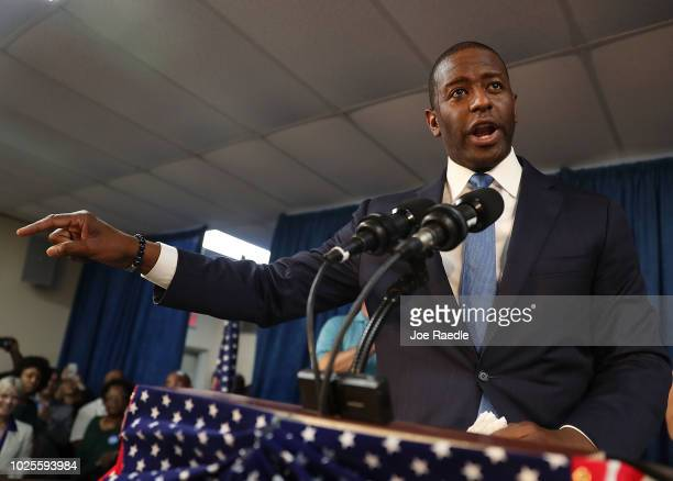 Andrew Gillum the Democratic candidate for Florida Governor speaks during a campaign rally at the International Union of Painters and Allied Trades...