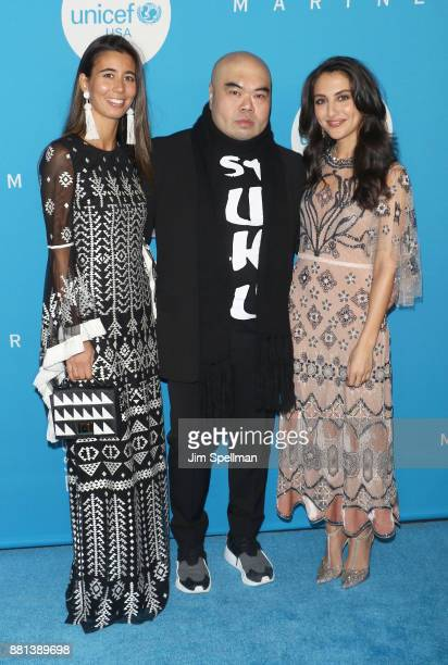 Andrew Gn Daria Daniel and guest attend the 13th Annual UNICEF Snowflake Ball 2017 at The Atrium at 60 Wall Street on November 28 2017 in New York...