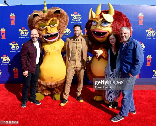 Andrew Goldberg Nick Kroll Jennifer Flackett and Mark Levin attend the 2019 MTV Movie and TV Awards at Barker Hangar on June 15 2019 in Santa Monica...