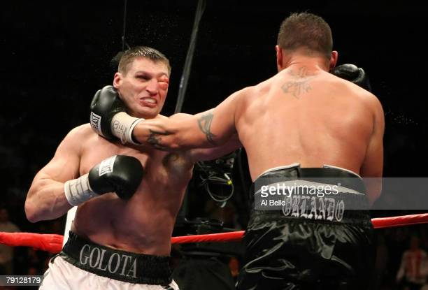 Andrew Golota and Mike Morro exchange punches during their IBF North American WBA Fedelatin Heavyweight Championship bout at Madison Square Garden...