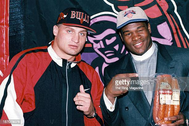 Andrew Golota and Riddick Bowe pose during a press conference in May 1996 in New YorkNew York