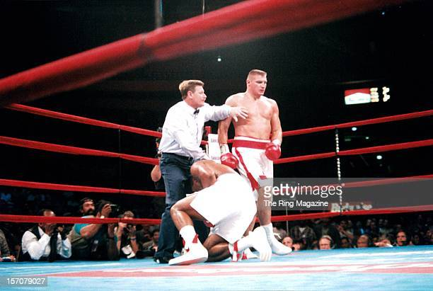 Andrew Golota is pushed away after knocking down Riddick Bowe during the fight at Madison Square Garden New York New York Riddick Bowe won by a DQ 7
