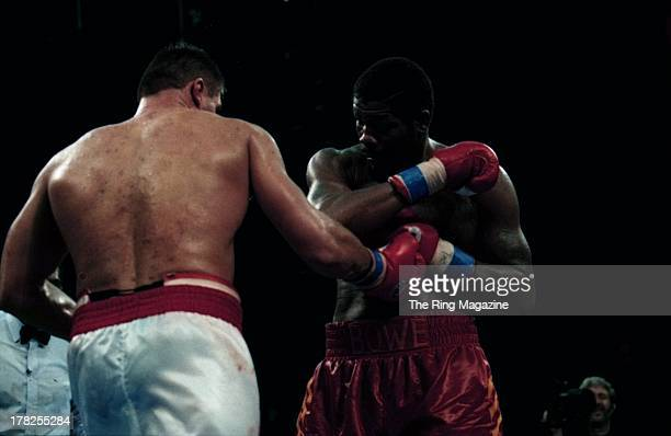 Andrew Golota lands a punch against Riddick Bowe during the fight at the Convention Center Atlantic City New Jersey