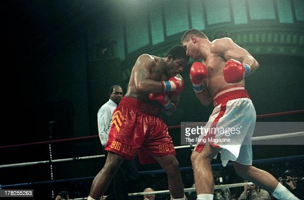 Andrew Golota looks to throw a punch against Riddick Bowe during the fight at the Convention Center Atlantic City New Jersey