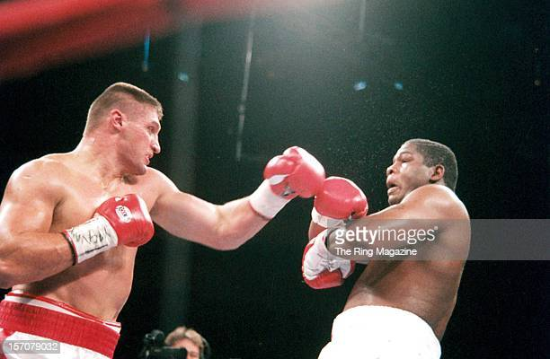 Andrew Golota throws a left hook to Riddick Bowe during the fight at Madison Square Garden New York New York Riddick Bowe won by a DQ 7