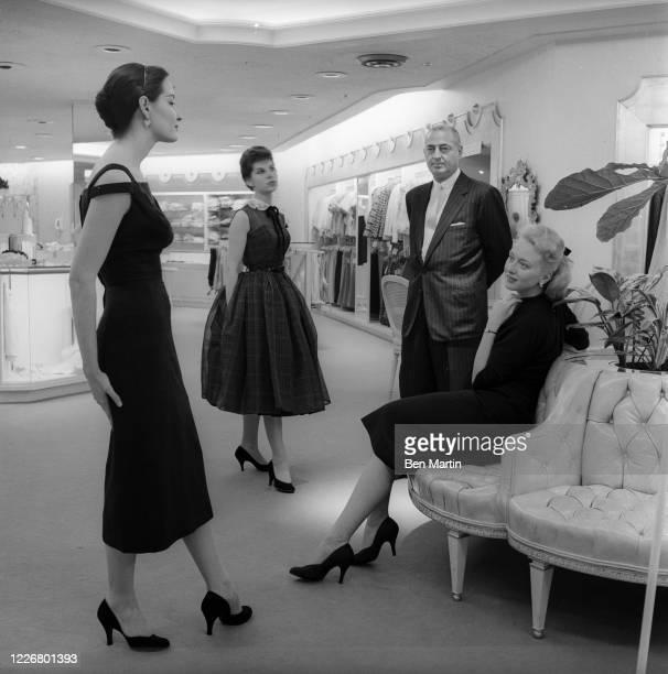 Andrew Goodman head of Bergdorf Goodman, with models at the Fifth Avenue store, July 6, 1956.