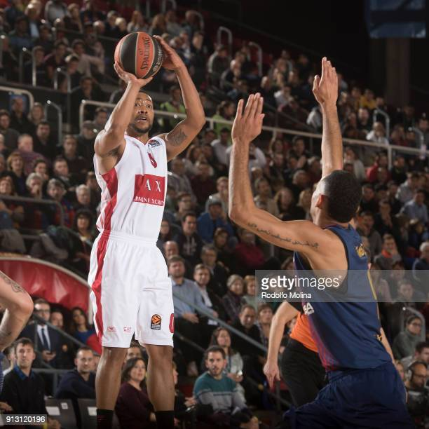Andrew Goudelock #0 of AX Armani Exchange Olimpia Milan in action during the 2017/2018 Turkish Airlines EuroLeague Regular Season Round 21 game...