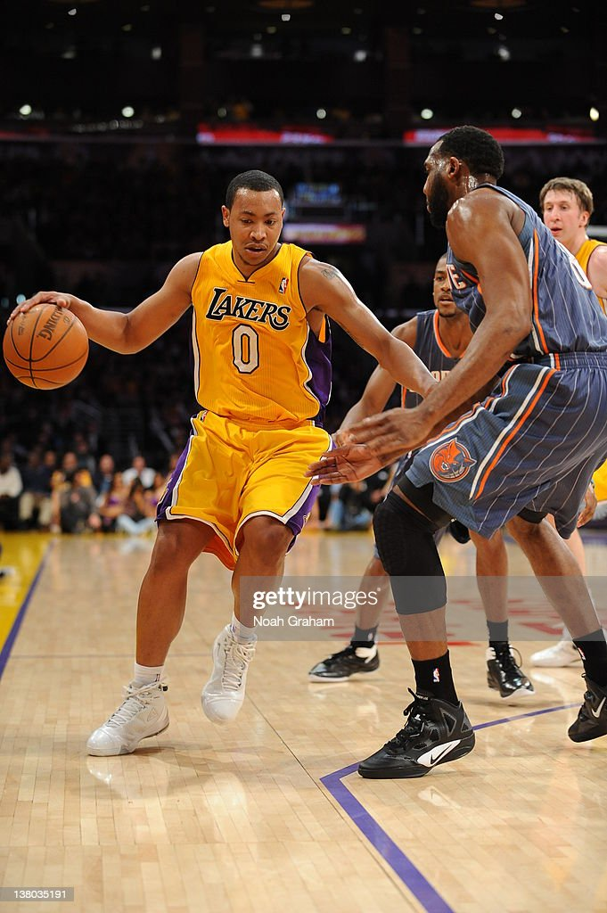 Andrew Goudelock #0 of the Los Angeles Lakers drives during the game between the Los Angeles Lakers and the Charlotte Bobcats at Staples Center on January 31, 2012 in Los Angeles, California.