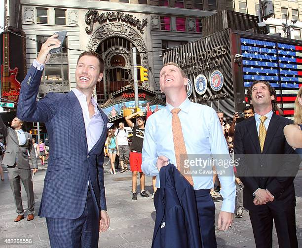 Andrew Greenwell and Justin Fichelson attend Million Dollar Listing San Francisco Rings The Nasdaq Stock Market Opening Bell at NASDAQ MarketSite on...