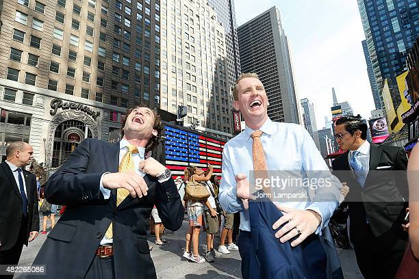 Andrew Greenwell Justin Fichelson and guests ring the Nasdaq Stock Market opening bell celebrating the Million Dollar Listing San Francisco during...