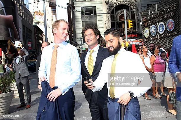 Andrew Greenwell Justin Fichelson and Roh Habibi attend Million Dollar Listing San Francisco Rings The Nasdaq Stock Market Opening Bell at NASDAQ...