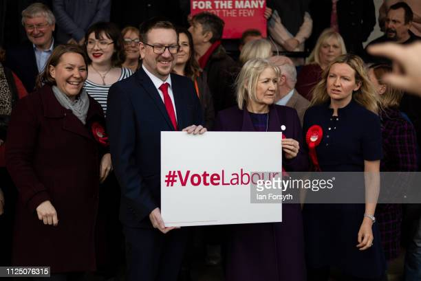 Andrew Gwynne MP Shadow Secretary of State for Communities and Local Government stands with Anna Turley MP for Redcar Lauren Dingsdale Labour...