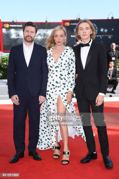 Andrew Haigh Chloe Sevigny and Charlie Plummer walk the red carpet ahead of the 'Lean On Pete' screening during the 74th Venice Film Festival at Sala...