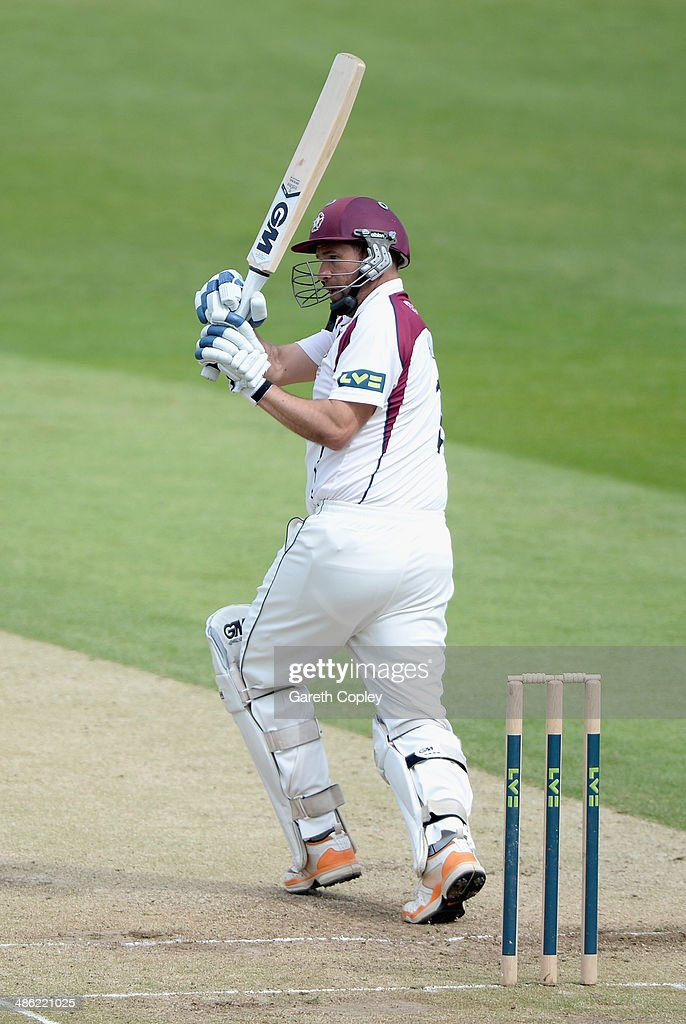 Andrew Hall of Northamptonshire bats during day four of the LV County Championship division One match between Yorkshire and Northamptonshire at Headingley on April 23, 2014 in Leeds, England.
