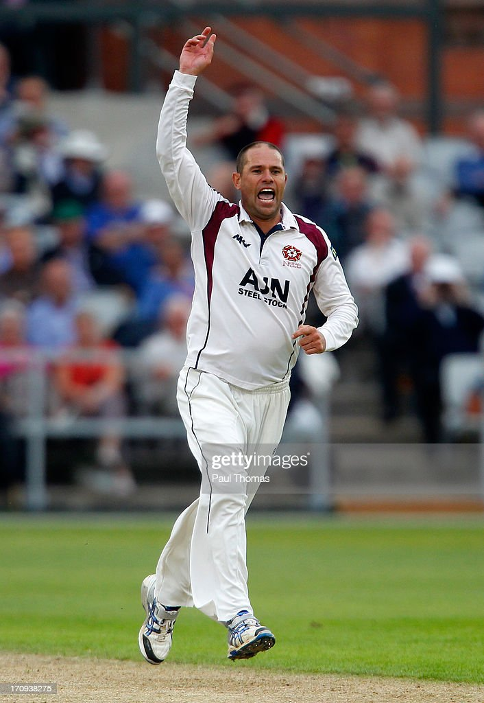 Andrew Hall of Northants celebrates taking a wicket during day one of the LV County Championship Division Two match between Lancashire and Northamptonshire at Old Trafford on June 20, 2013 in Manchester, England.
