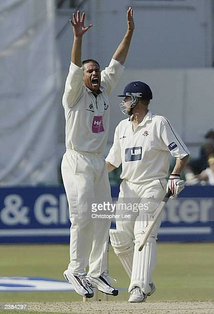 Andrew Hall of Worcestershire appeals successfully for the wicket of Andrew Flintoff of Lancastershire during the CG Trophy SemiFinal match between...