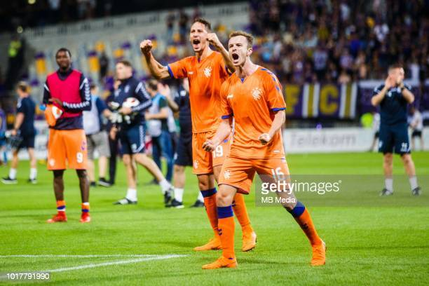Andrew Halliday and Nikola Katic of FC Rangers celebrate after winning the 2nd Leg football match between NK Maribor and Rangers FC in 3rd Qualifying...
