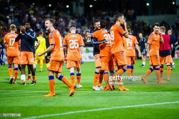 Andrew Halliday of FC Rangers Daniel Candeias of FC Rangers Ryan Kent of FC Rangers and Nikola Katic of FC Rangers celebrate after winning the 2nd...
