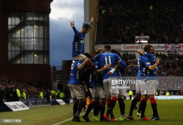 Andrew Halliday of Rangers celebrates after Glenn Middleton of Rangers scores his team's fourth goal during the Ladbrokes Scottish Premiership match...