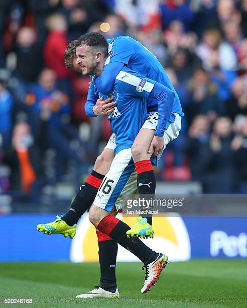 Andrew Halliday of Rangers celebrates scoring with Dean Shiels during the Petrofac Training Cup Final between Rangers and Peterhead at Hampden Park...