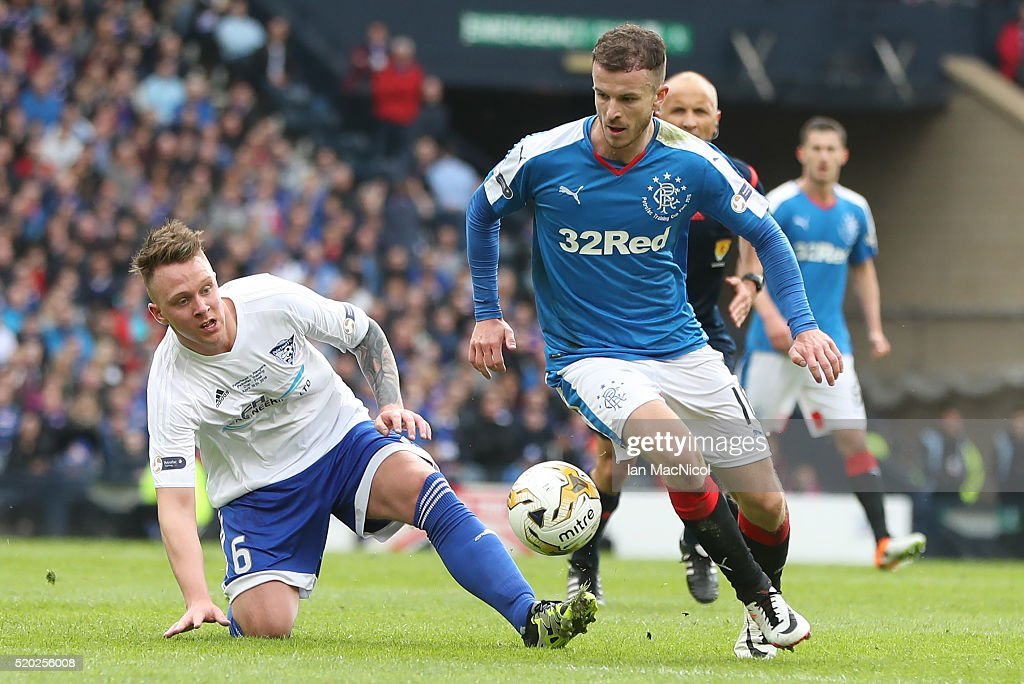 Andrew Halliday of Rangers evades Ryan Strachan of Peterhead during the Petrofac Training Cup Final between Rangers and Peterhead at Hampden Park on April 10, 2016 in Glasgow, Scotland.