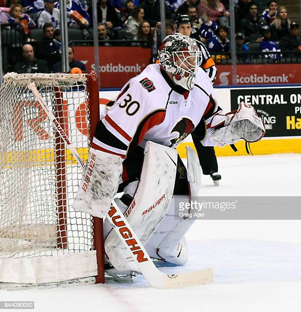 Andrew Hammond of the Binghamton Senators prepares for a shot against the Toronto Marlies during AHL game action on February 20 2017 at Air Canada...