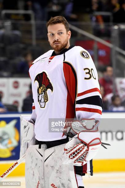 Andrew Hammond of the Binghamton Senators skates in warmup prior to a game against the Toronto Marlies on February 20 2017 at Air Canada Centre in...