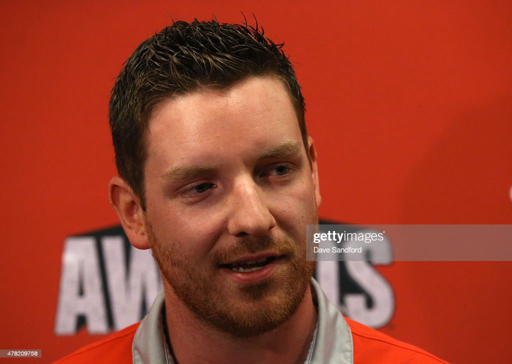 Andrew Hammond of the Ottawa Senators attends the 2015 NHL Awards nominee media availability at the MGM Grand Garden Arena on June 23, 2015 in Las Vegas, Nevada.