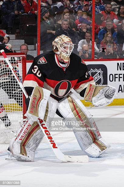 Andrew Hammond of the Ottawa Senators defends his net against the Colorado Avalanche during an NHL game at Canadian Tire Centre on February 11 2016...