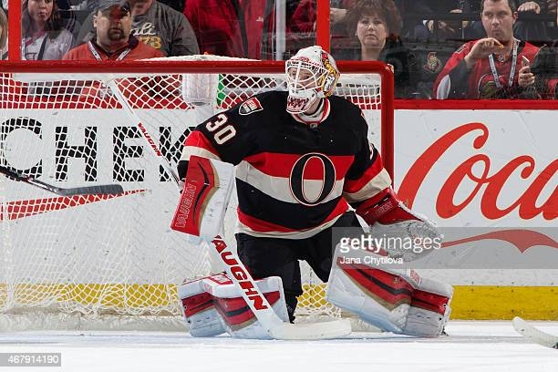 Andrew Hammond of the Ottawa Senators defends the net against the New York Rangers at Canadian Tire Centre on March 26 2015 in Ottawa Ontario Canada
