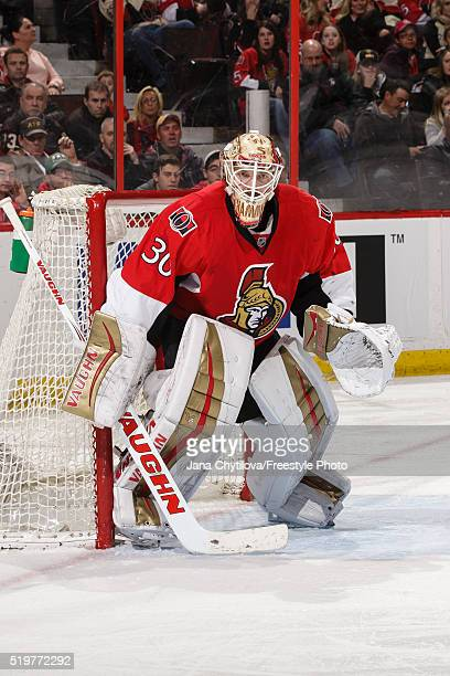 Andrew Hammond of the Ottawa Senators guards his net against the Pittsburgh Penguins at Canadian Tire Centre on April 5 2016 in Ottawa Ontario Canada