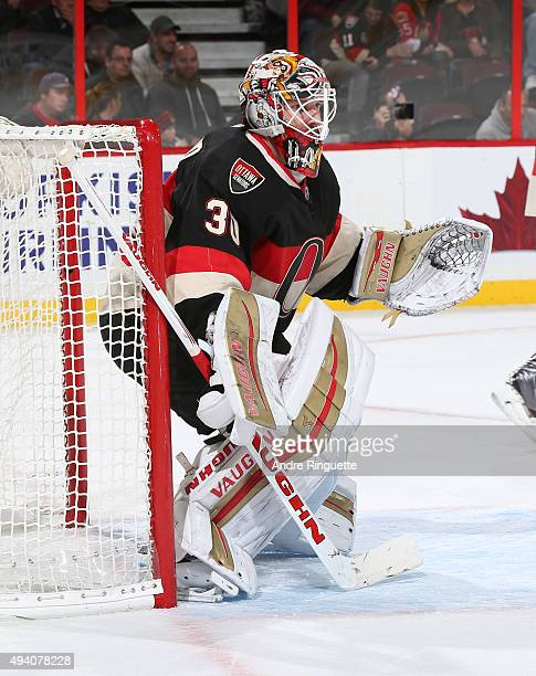 Andrew Hammond of the Ottawa Senators guards his net against the New Jersey Devils at Canadian Tire Centre on October 22 2015 in Ottawa Ontario Canada