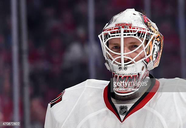 Andrew Hammond of the Ottawa Senators in Game One of the Eastern Conference Quarterfinals against the Montreal Canadiens during the 2015 NHL Stanley...