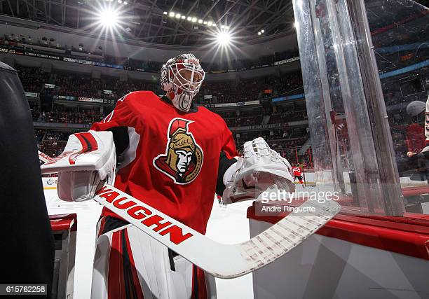 Andrew Hammond of the Ottawa Senators leaves the ice after warmup prior to a game against the Montreal Canadiens at Canadian Tire Centre on October...