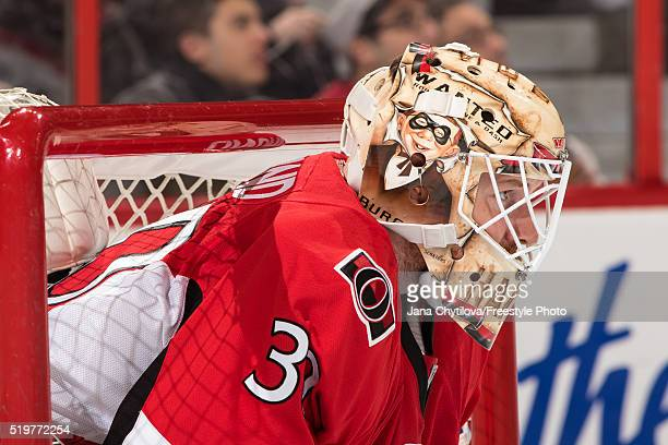 Andrew Hammond of the Ottawa Senators looks on against the Pittsburgh Penguins at Canadian Tire Centre on April 5 2016 in Ottawa Ontario Canada