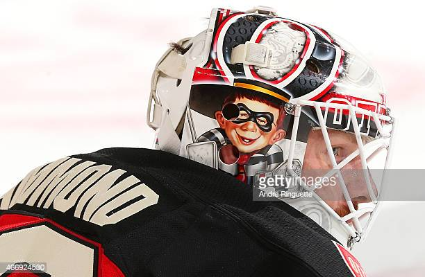 Andrew Hammond of the Ottawa Senators looks on during warmup prior to a game against the Boston Bruins at Canadian Tire Centre on March 19 2015 in...