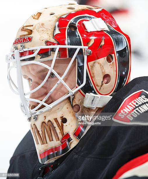 Andrew Hammond of the Ottawa Senators looks on during warmup prior to a game against the Carolina Hurricanes at Canadian Tire Centre on February 18...