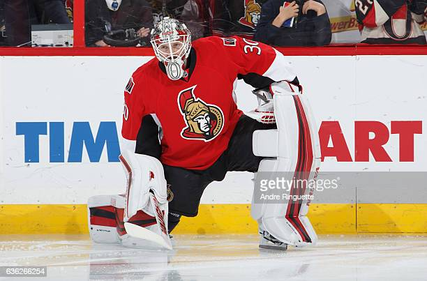 Andrew Hammond of the Ottawa Senators looks on during warmup prior to a game against the New Jersey Devils at Canadian Tire Centre on December 17...