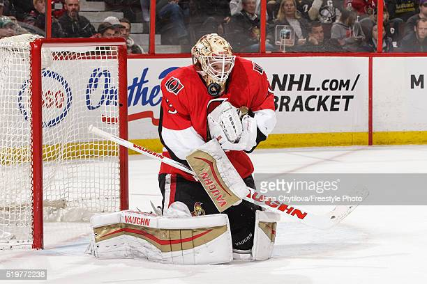 Andrew Hammond of the Ottawa Senators makes a save against the Pittsburgh Penguins at Canadian Tire Centre on April 5 2016 in Ottawa Ontario Canada