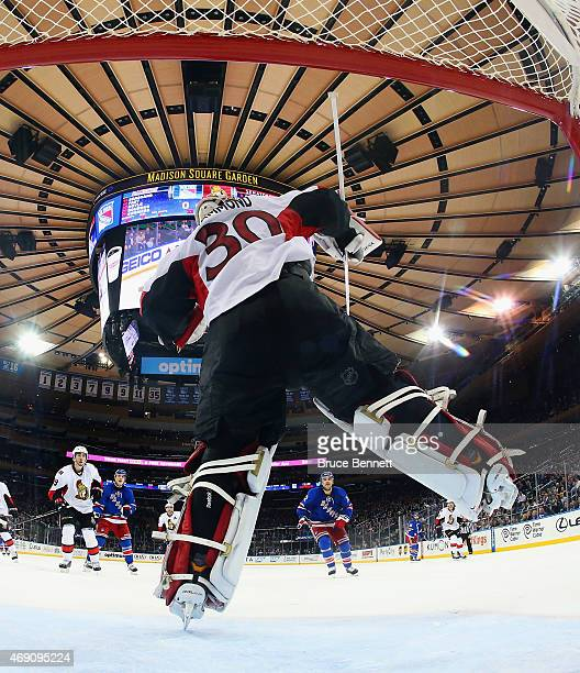 Andrew Hammond of the Ottawa Senators makes a third period save against the New York Rangers en route to a 30 shut out at Madison Square Garden on...