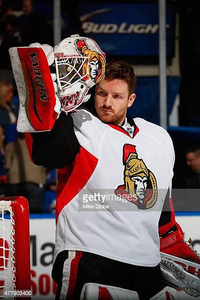 Andrew Hammond of the Ottawa Senators skates against the New York Islanders at Nassau Veterans Memorial Coliseum on March 13 2015 in Uniondale New...