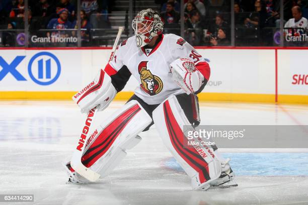 Andrew Hammond of the Ottawa Senators skates against the New York Islanders at the Barclays Center on December 18 2016 in Brooklyn borough of New...