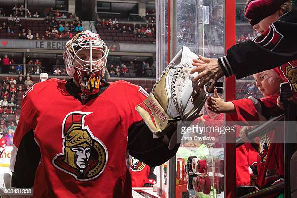 Andrew Hammond of the Ottawa Senators steps off the ice prior to a game against the New Jersey Devils at Canadian Tire Centre on December 30 2015 in...